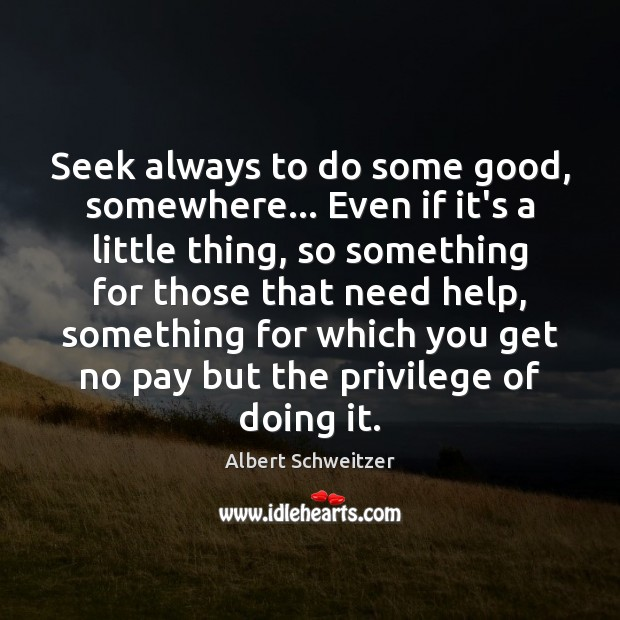 Seek always to do some good, somewhere… Even if it's a little Albert Schweitzer Picture Quote