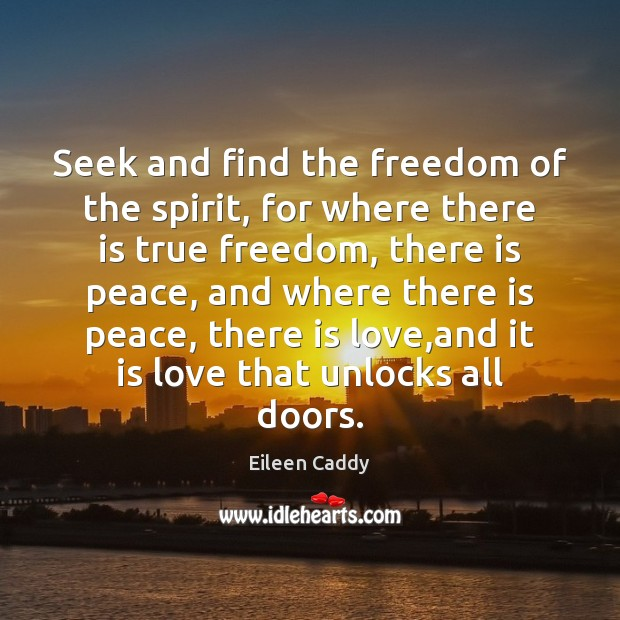 Image, Seek and find the freedom of the spirit, for where there is