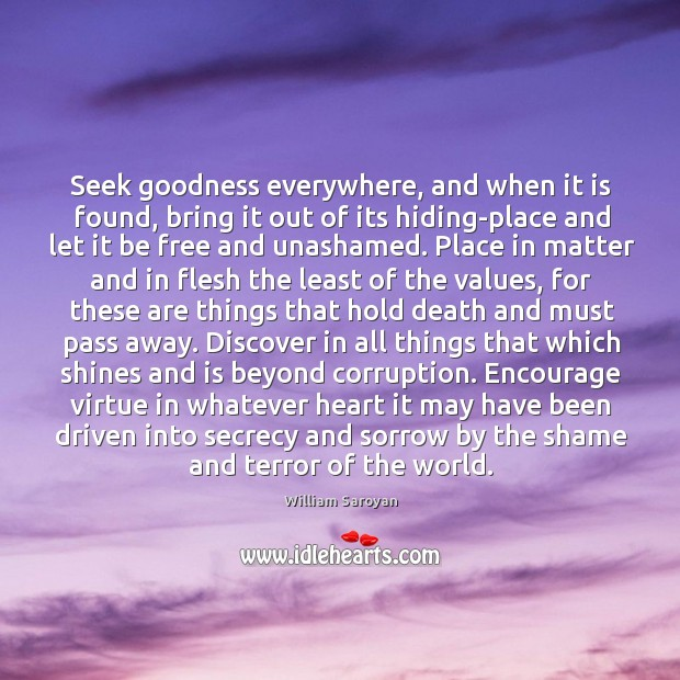 Seek goodness everywhere, and when it is found, bring it out of Image