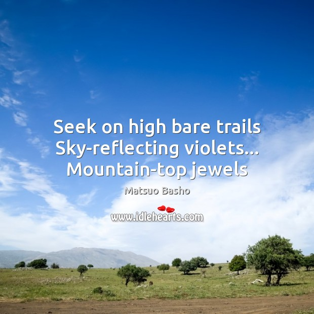 Seek on high bare trails Sky-reflecting violets… Mountain-top jewels Matsuo Basho Picture Quote