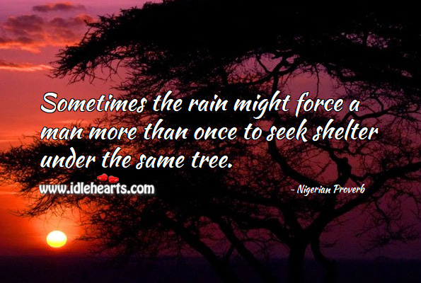 Image, Sometimes the rain might force a man more than once to seek shelter under the same tree.