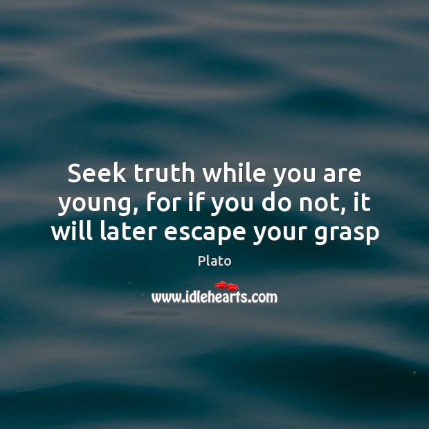 Seek truth while you are young, for if you do not, it will later escape your grasp Image
