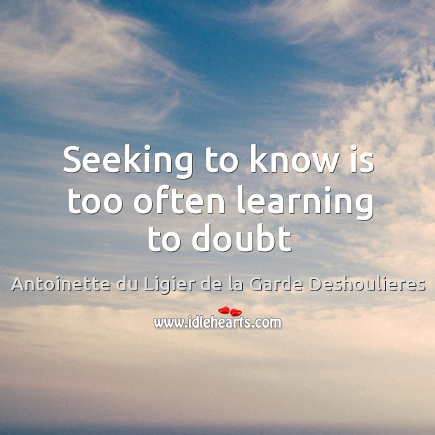 Seeking to know is too often learning to doubt Image