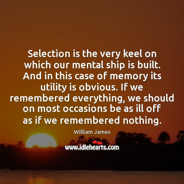 Image, Selection is the very keel on which our mental ship is built.