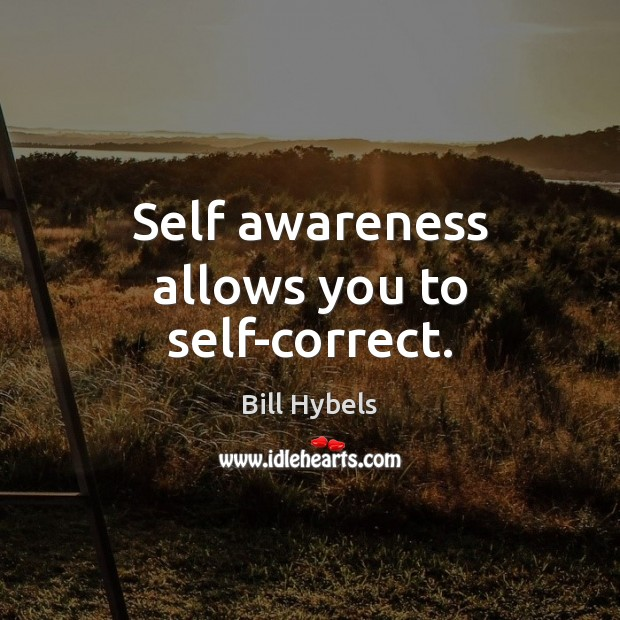 Self awareness allows you to self-correct. Bill Hybels Picture Quote