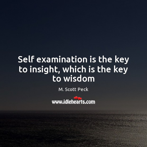 Self examination is the key to insight, which is the key to wisdom M. Scott Peck Picture Quote