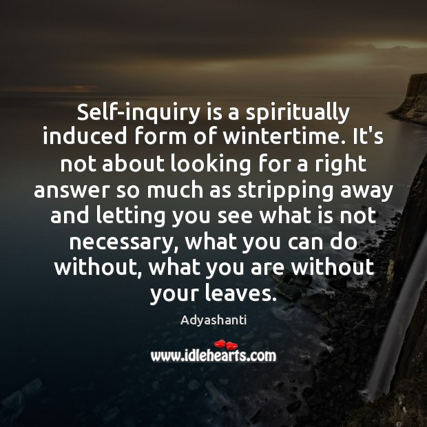 Image, Self-inquiry is a spiritually induced form of wintertime. It's not about looking
