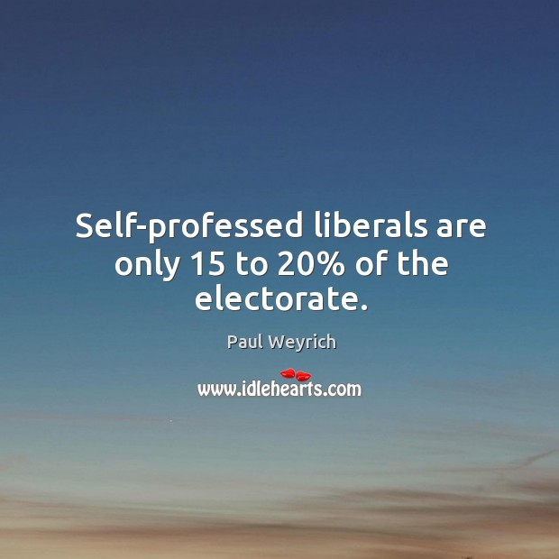 Self-professed liberals are only 15 to 20% of the electorate. Image