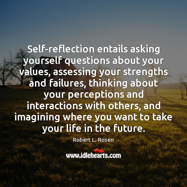 Image, Self-reflection entails asking yourself questions about your values, assessing your strengths and