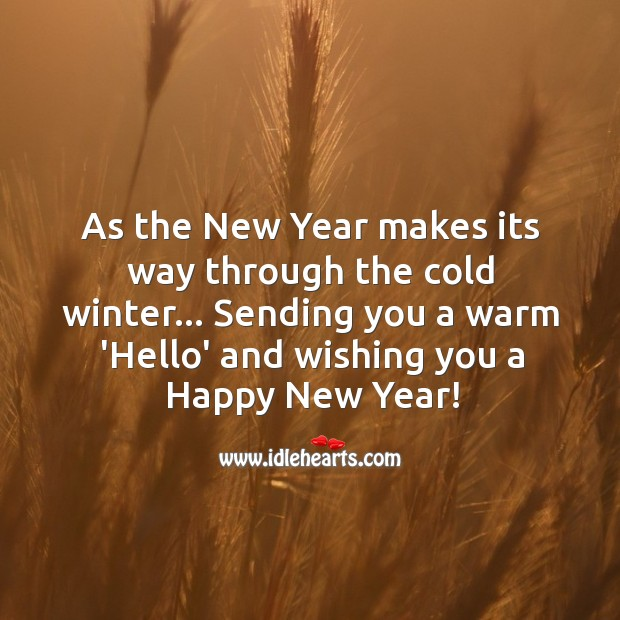 Sending you a warm 'hello' and wishing you a happy new year! Image