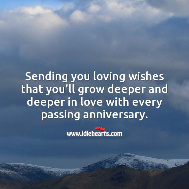 Sending you loving wishes that you'll grow deeper and deeper in love. Wedding Anniversary Wishes Image