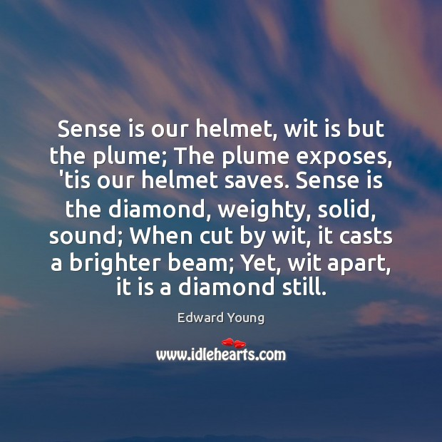 Image, Sense is our helmet, wit is but the plume; The plume exposes,