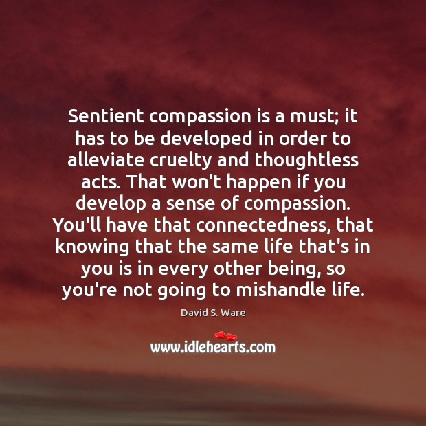 Sentient compassion is a must; it has to be developed in order Image
