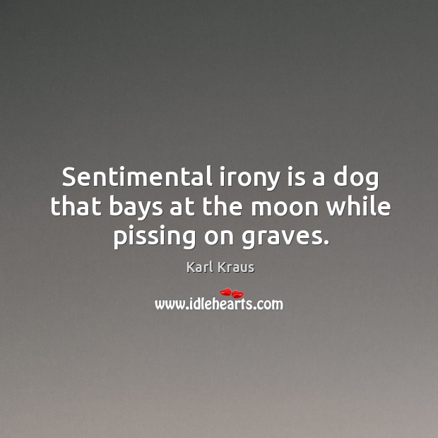 Image, Sentimental irony is a dog that bays at the moon while pissing on graves.