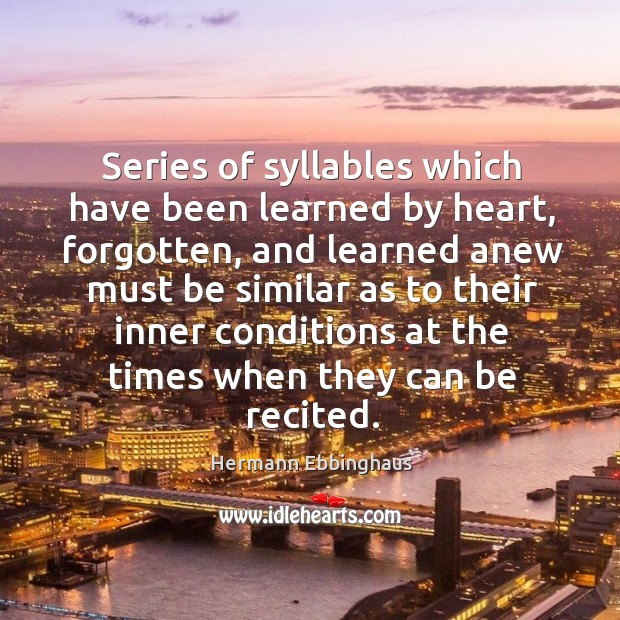 Series of syllables which have been learned by heart, forgotten, and learned anew Image