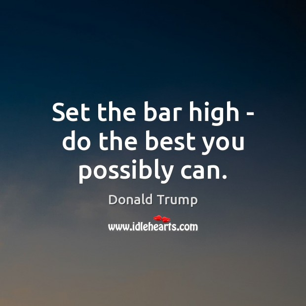 Set the bar high – do the best you possibly can. Donald Trump Picture Quote