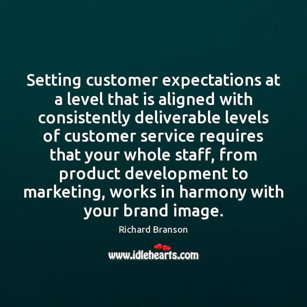 Setting customer expectations at a level that is aligned with consistently deliverable Image