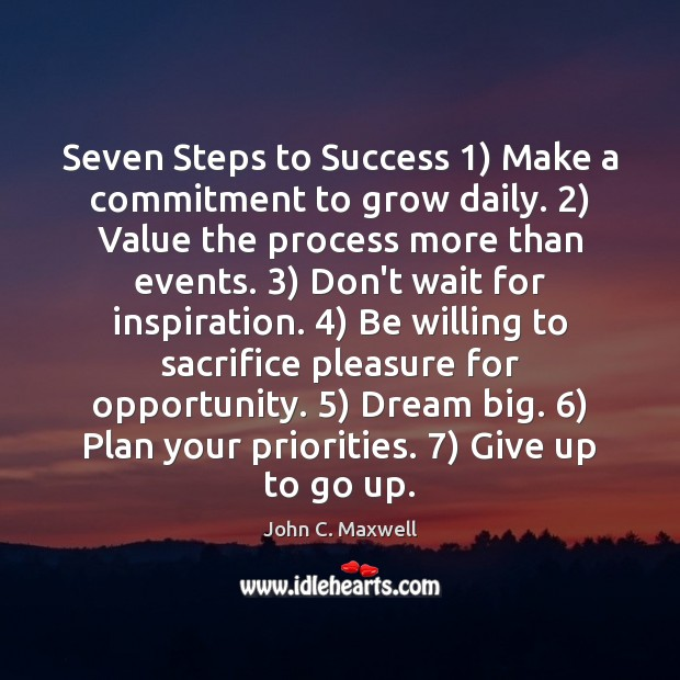 Seven Steps to Success 1) Make a commitment to grow daily. 2) Value the Image