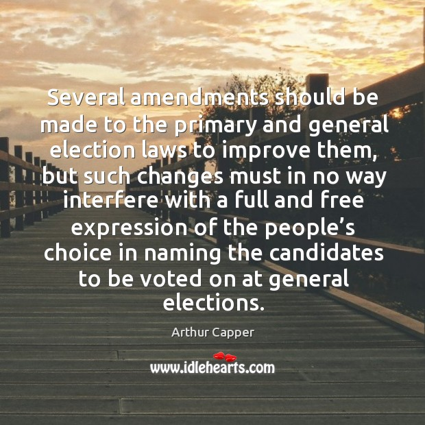 Several amendments should be made to the primary and general election laws to improve them Arthur Capper Picture Quote