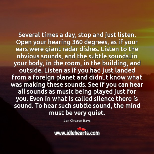 Image, Several times a day, stop and just listen. Open your hearing 360 degrees,