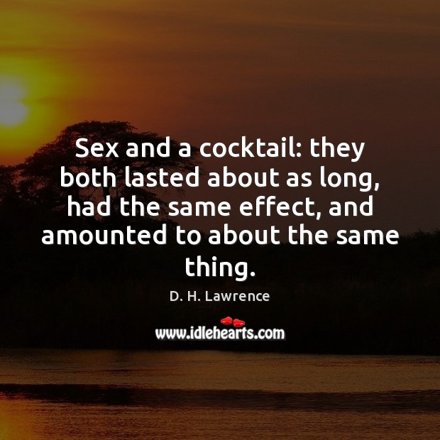 Image, Sex and a cocktail: they both lasted about as long, had the