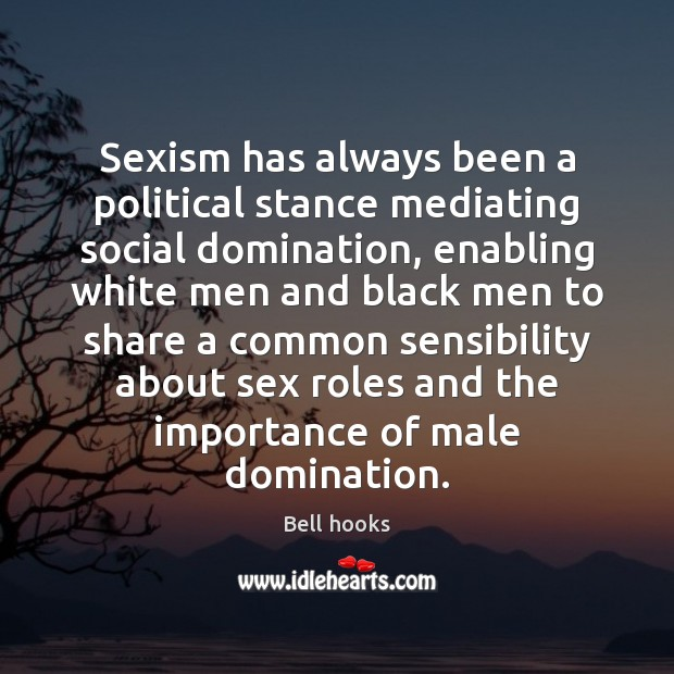 Sexism has always been a political stance mediating social domination, enabling white Image