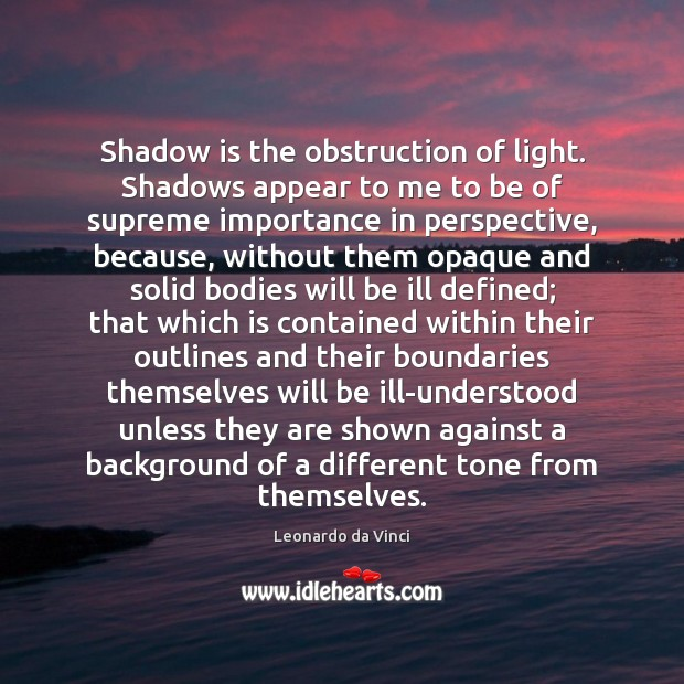 Shadow is the obstruction of light. Shadows appear to me to be Leonardo da Vinci Picture Quote