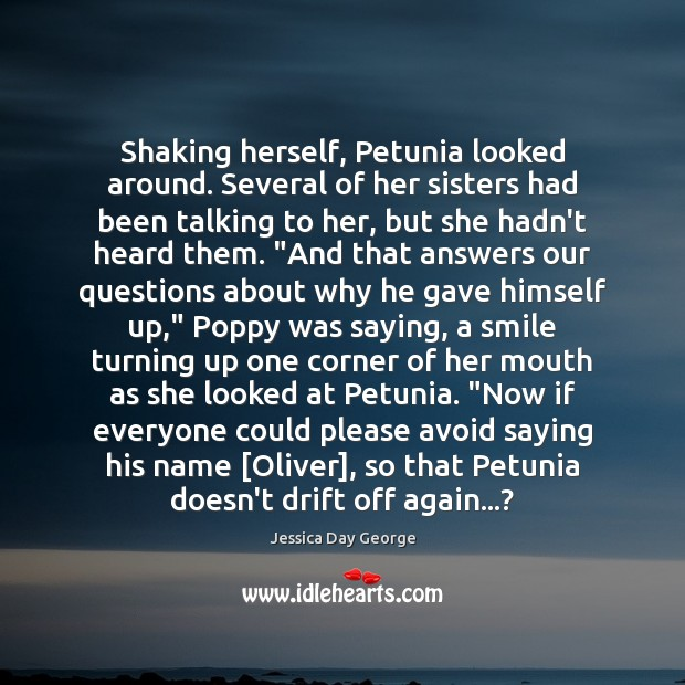 Image, Shaking herself, Petunia looked around. Several of her sisters had been talking