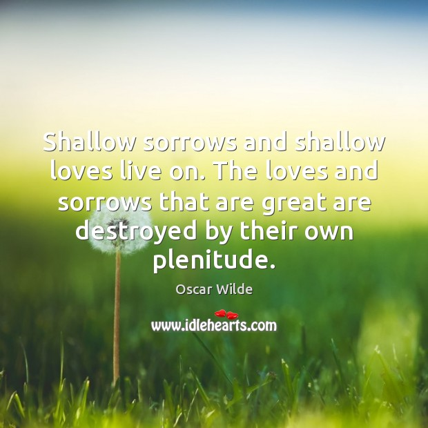 Image, Shallow sorrows and shallow loves live on. The loves and sorrows that