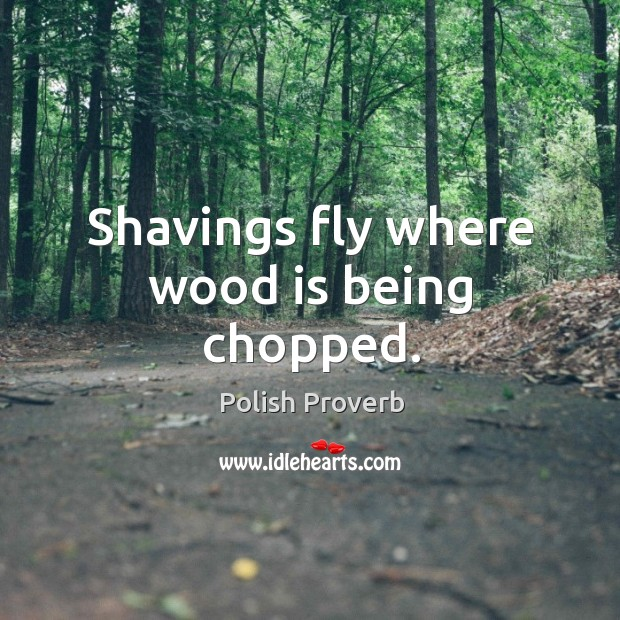 Shavings fly where wood is being chopped. Polish Proverbs Image