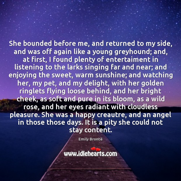She bounded before me, and returned to my side, and was off Image