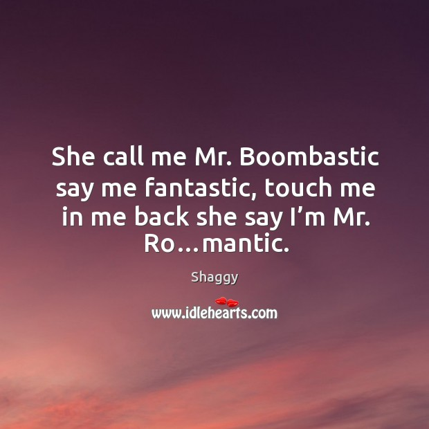 She call me mr. Boombastic say me fantastic, touch me in me back she say I'm mr. Ro…mantic. Image