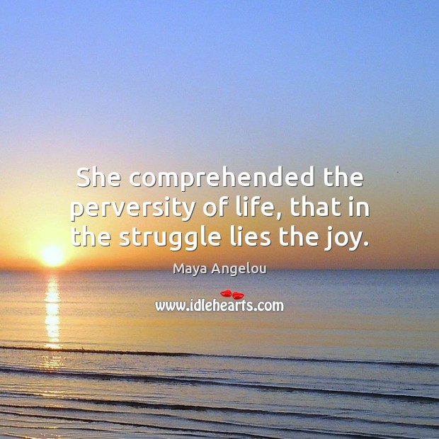 Image, She comprehended the perversity of life, that in the struggle lies the joy.