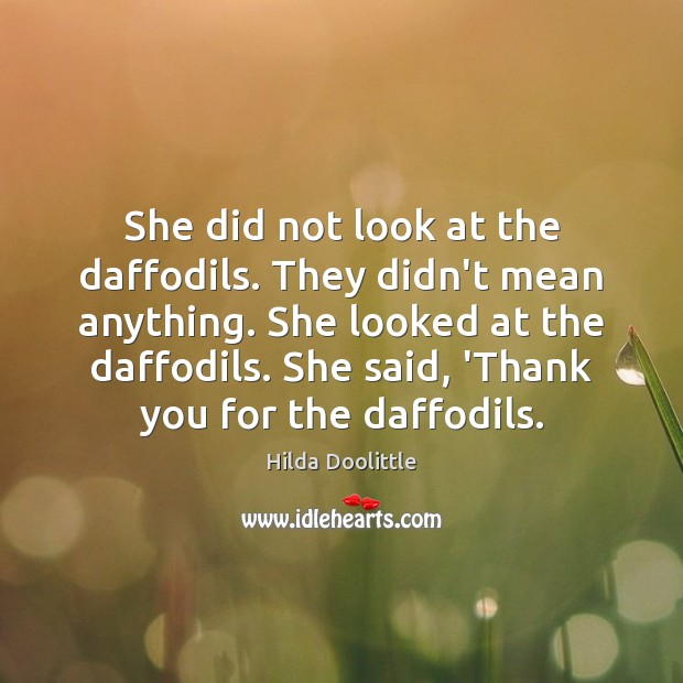 She did not look at the daffodils. They didn't mean anything. She Hilda Doolittle Picture Quote