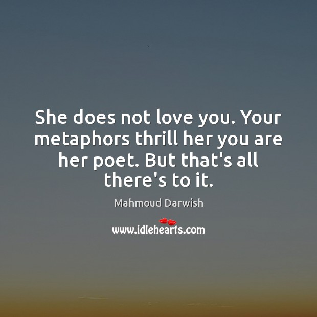 Image, She does not love you. Your metaphors thrill her you are her