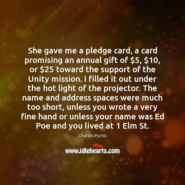 Image, She gave me a pledge card, a card promising an annual gift