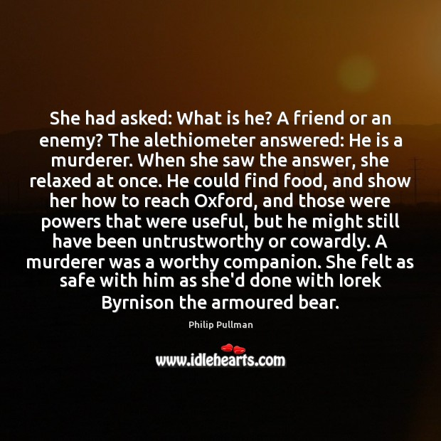 She had asked: What is he? A friend or an enemy? The Image