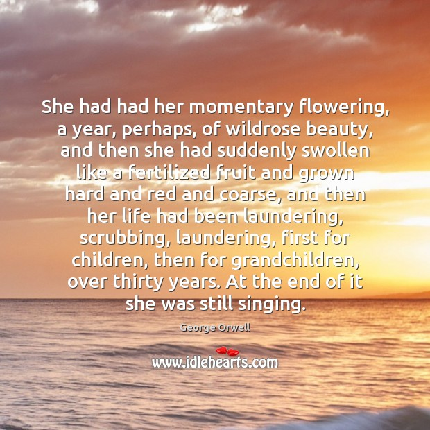 She had had her momentary flowering, a year, perhaps, of wildrose beauty, George Orwell Picture Quote