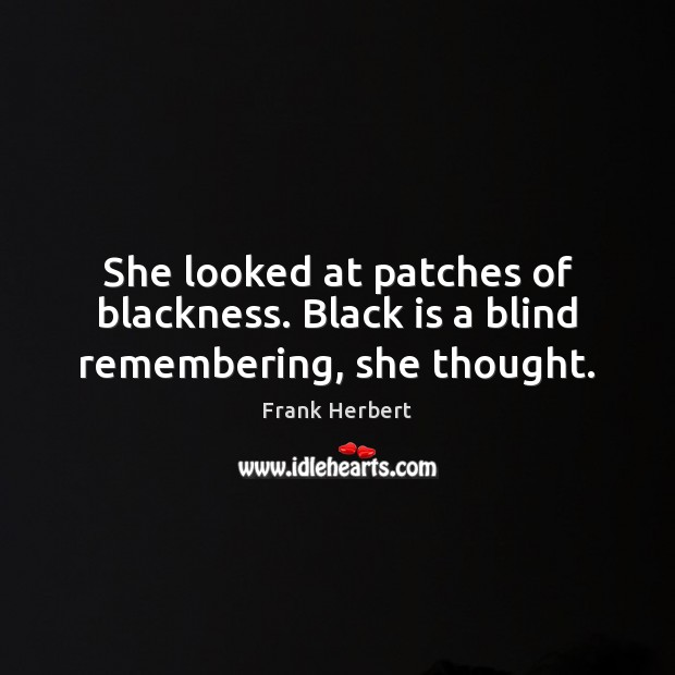 Image, She looked at patches of blackness. Black is a blind remembering, she thought.