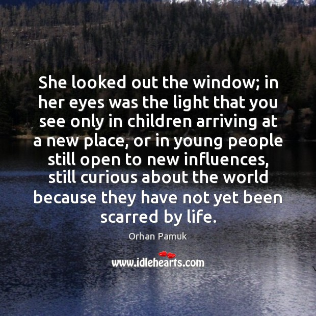 She looked out the window; in her eyes was the light that Orhan Pamuk Picture Quote