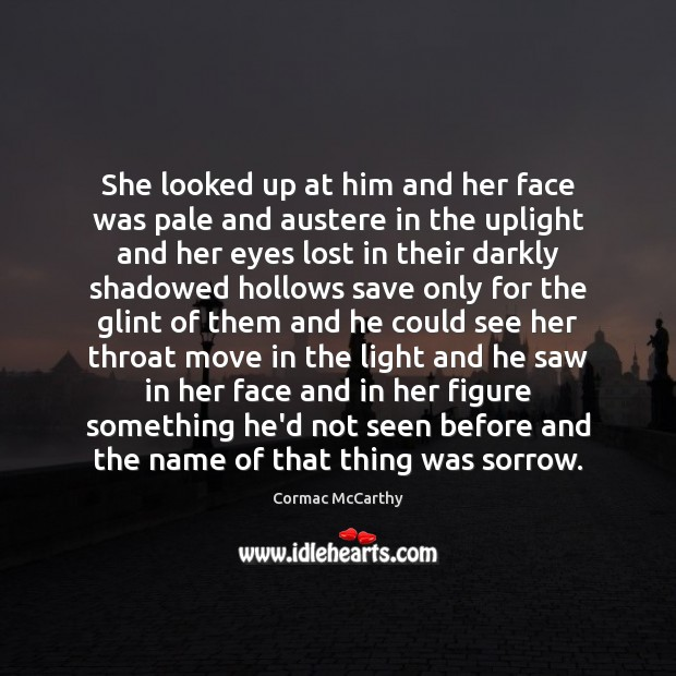 She looked up at him and her face was pale and austere Image