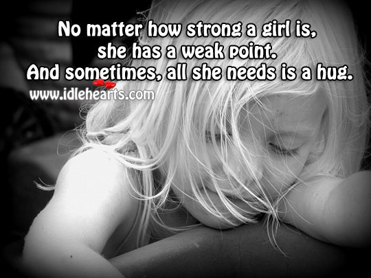 No matter how strong a girl is, she has a weak point. Image