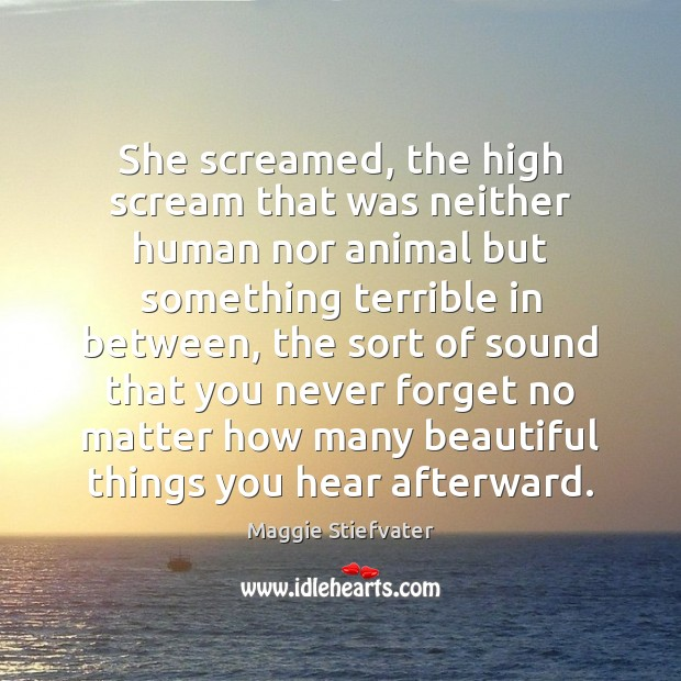 She screamed, the high scream that was neither human nor animal but Maggie Stiefvater Picture Quote