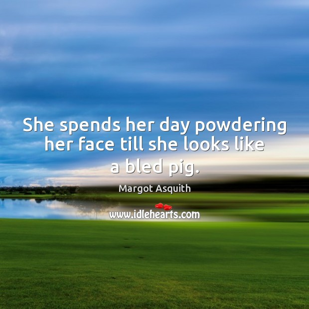 She spends her day powdering her face till she looks like a bled pig. Image