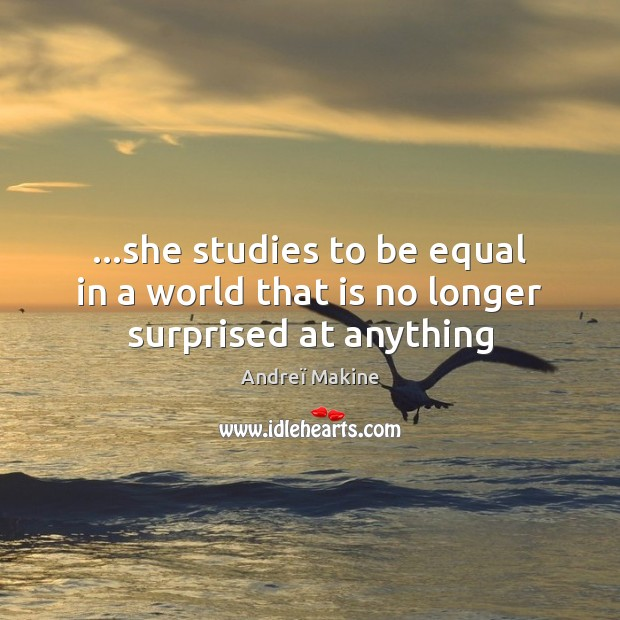 Image, …she studies to be equal in a world that is no longer surprised at anything