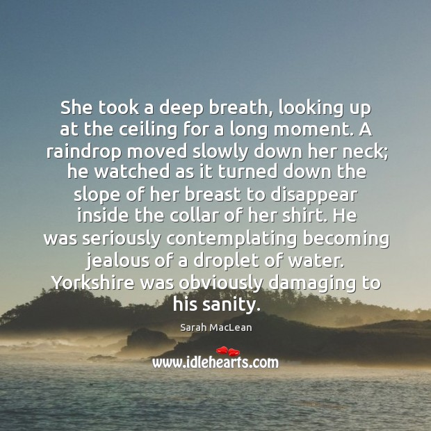 She took a deep breath, looking up at the ceiling for a Sarah MacLean Picture Quote