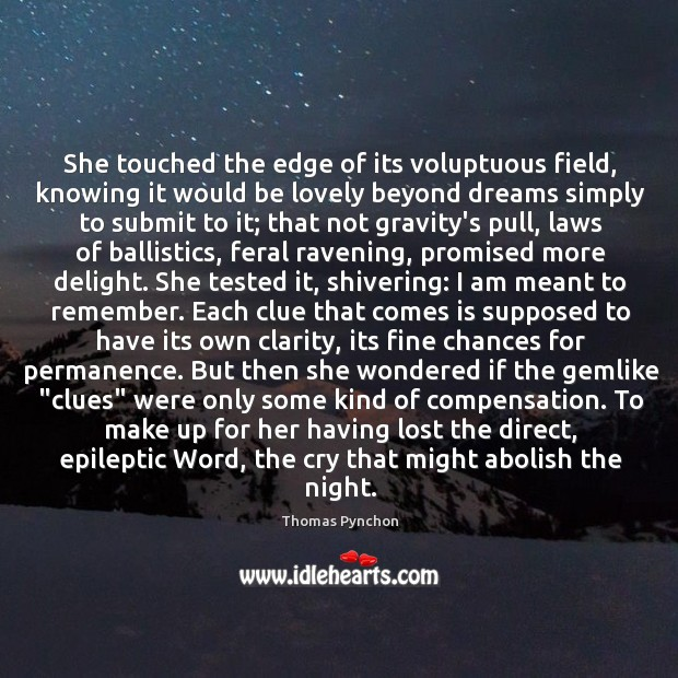 Image, She touched the edge of its voluptuous field, knowing it would be