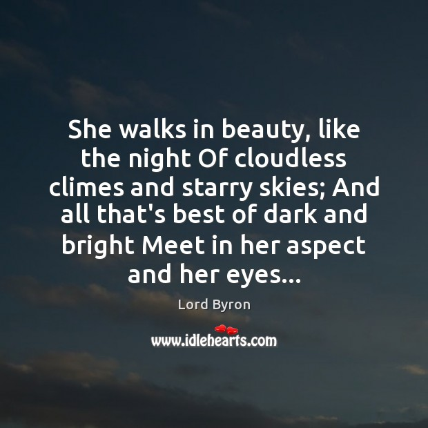 Image, She walks in beauty, like the night Of cloudless climes and starry
