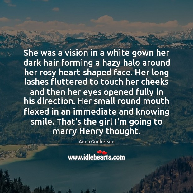 Image, She was a vision in a white gown her dark hair forming
