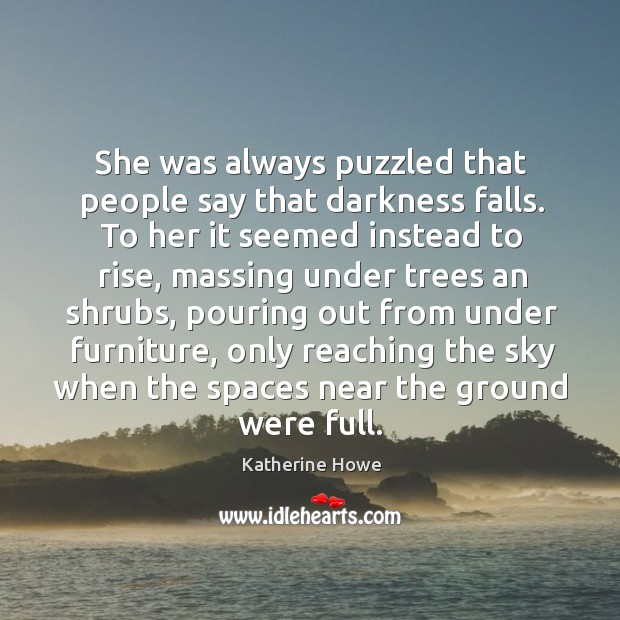 She was always puzzled that people say that darkness falls. To her Image